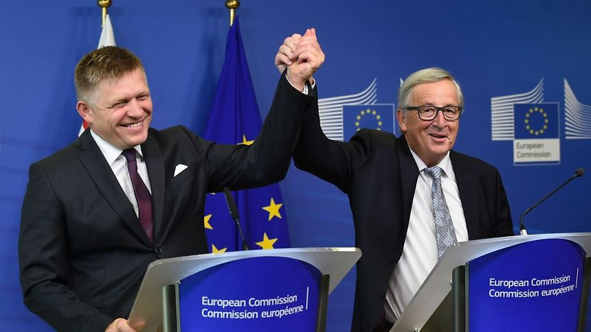 "PM Robert Fico sells Slovakia's Soul for EU Gold; Juncker ""breaks"" Fico on EU Migrant Quotas."