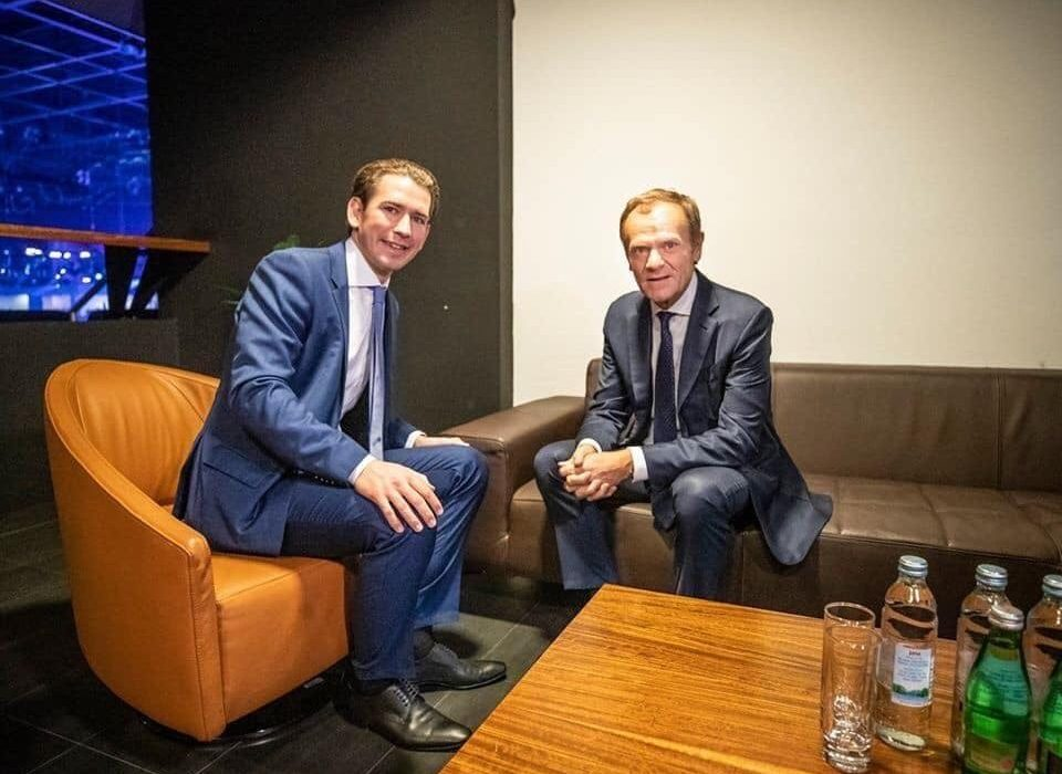 Donald Tusk, leader of EPP Party, is all giddy about Kurz's new partnership with the far-left Greens.