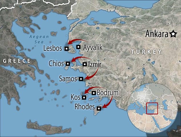 Greece plans a 1.7-mile 'floating fence' in the sea to stop migrants reaching its islands.