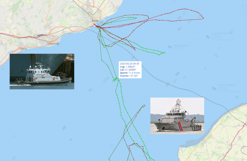 Caught: French coast guard ship (or should one say illegal migrant transfer ship) filmed by Brexit leader Nigel Farage escorting illegal migrants into British waters.