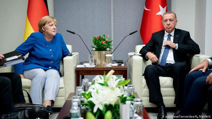 Turkey blocks Germany military from searching for weapons on ship destined for Libya.