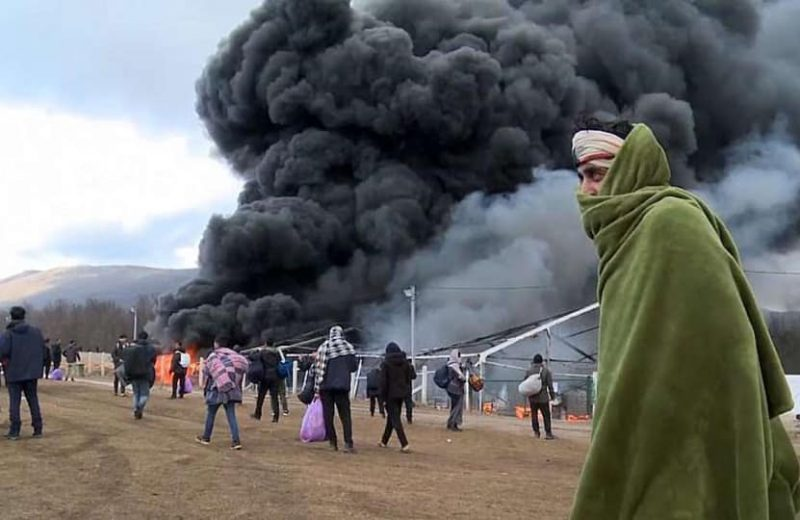 That was fast:  Fire engulfs controversial migrant camp near Bosnia-Croatia border.